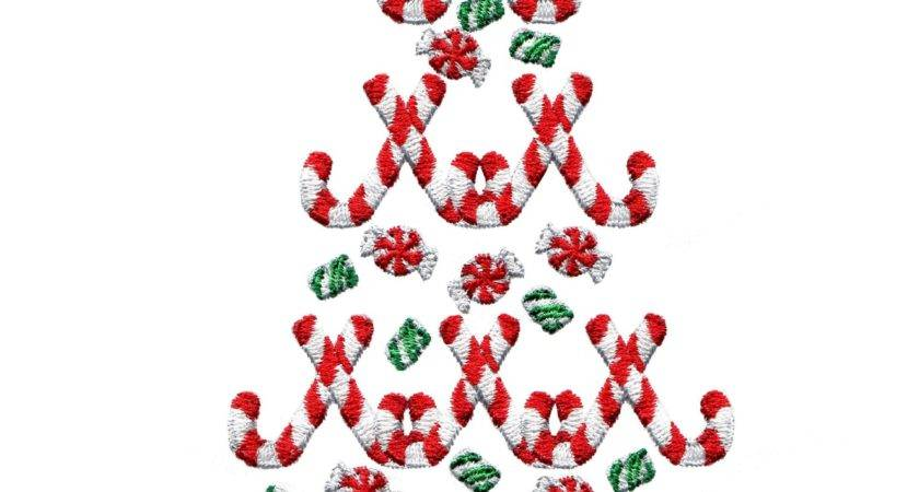 Candy Cane Christmas Tree Embroidery Design