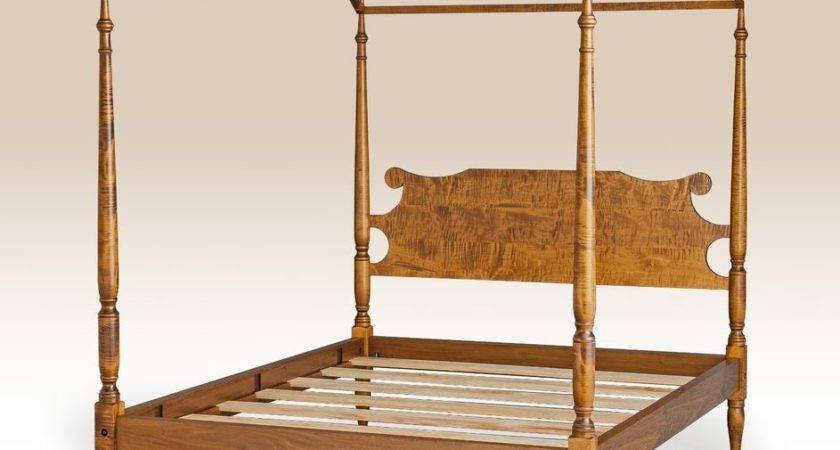 Canopy Bed Frame Tiger Maple Wood Poster American