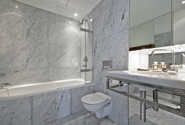 Carrara Marble Tile White Bathroom Contemporary