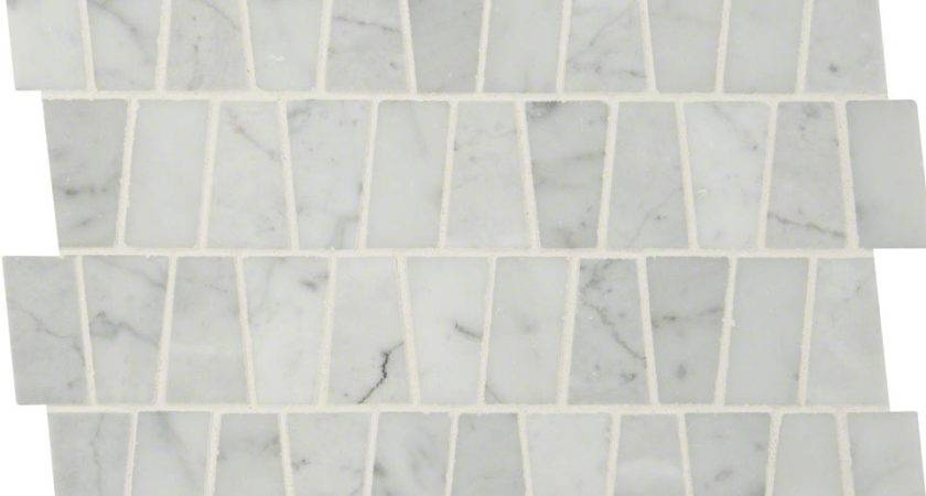 Carrara White Trapezoid Pattern Polished Colonial Marble