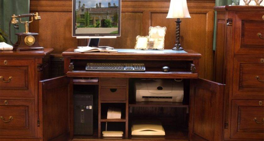 Chateau Mahogany Hidden Home Office Computer Desk