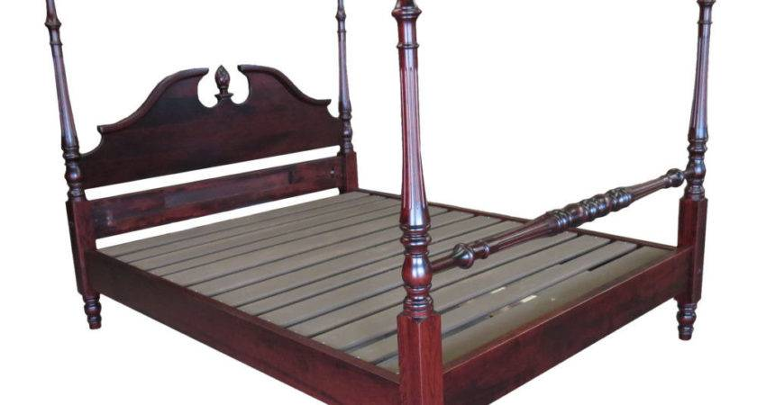 Cherry Queen Rice Carved Four Poster Platform Bed