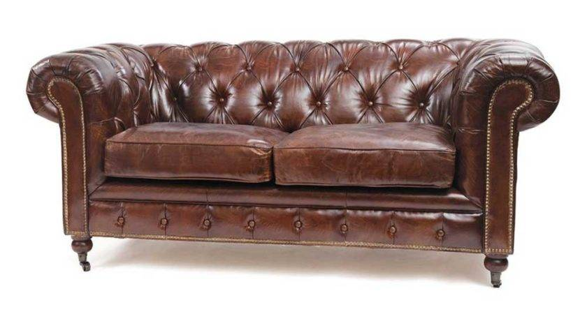 Chesterfield Antique Brown Leather Sofa