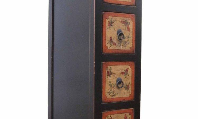 Chinese Black Color Drawers Lacquer Narrow Storage
