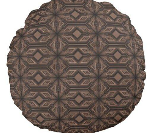 Chocolate Brown Mosaic Cotton Round Throw Pillow Zazzle