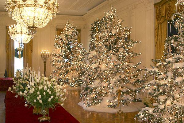 Christmas Decorations East Room White