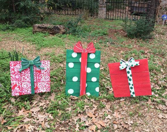 Christmas Gift Yard Decor Wooden Outdoor