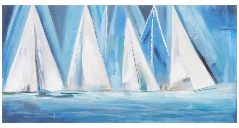 City Furniture Boats Blue Canvas Wall Art
