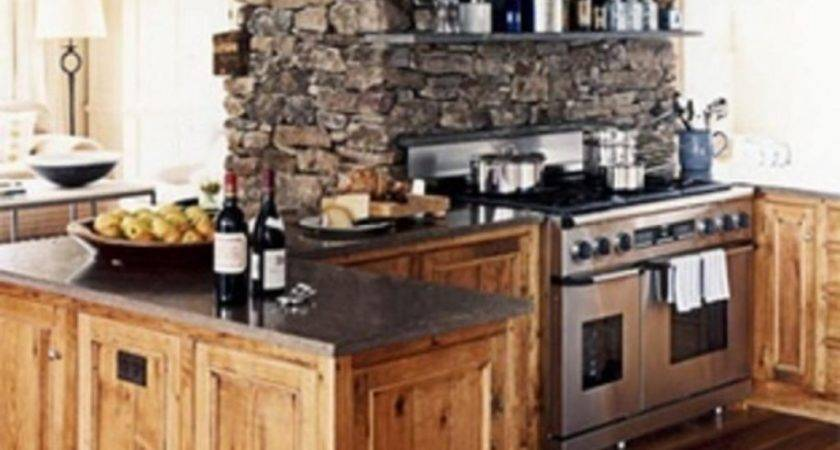 Classic Stacked Stone Wall Wooden Kitchen Cabinet Country