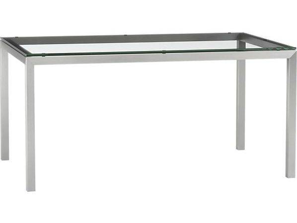 Clear Glass Top Stainless Steel Base Parsons Dining