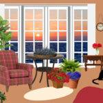 Clipart Fictional Living Room Ocean