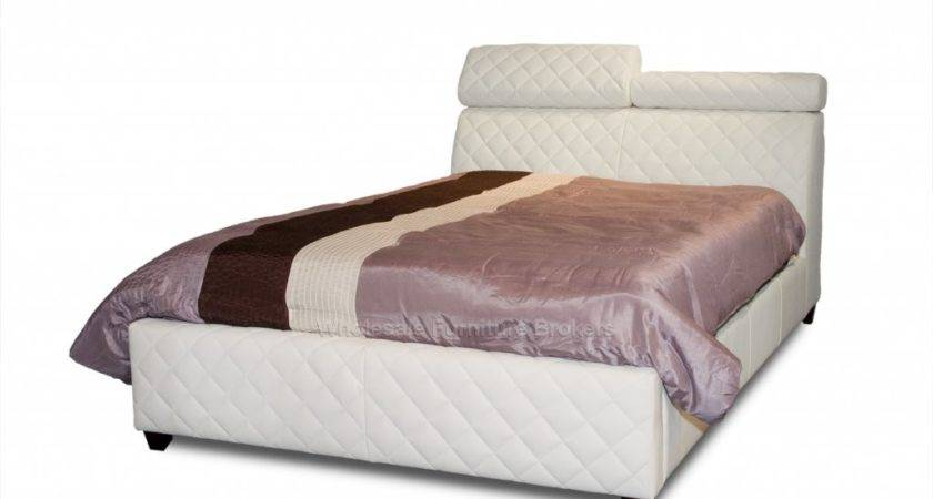 Coco White Leather Platform Bed Adjustable Headrest