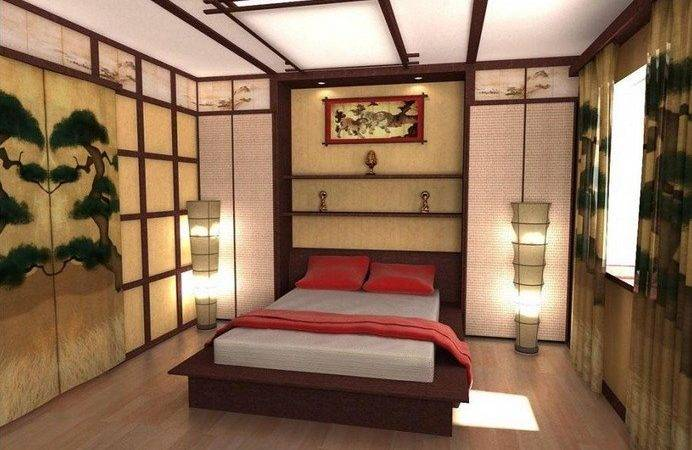 Colorful Japanese Bedroom Style Big Mirror