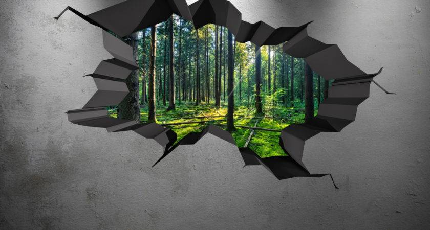 Colour Woods Forest Trees Jungle Cracked Wall Art
