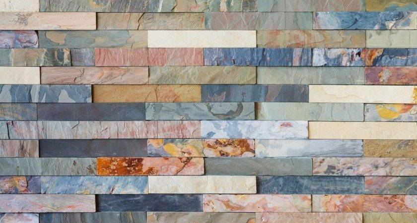Colourful Stone Wall Tiles Glass Splashback
