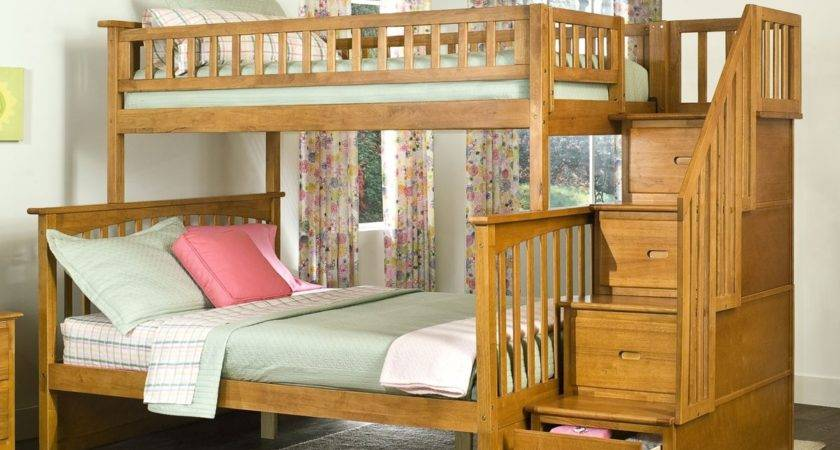 Columbia Twin Over Staircase Bunk Bed Caramel Latte