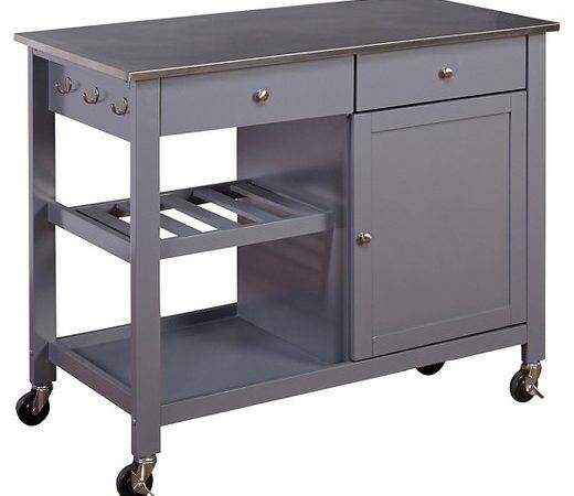 Columbus Kitchen Cart Stainless Steel Top Gray Tms