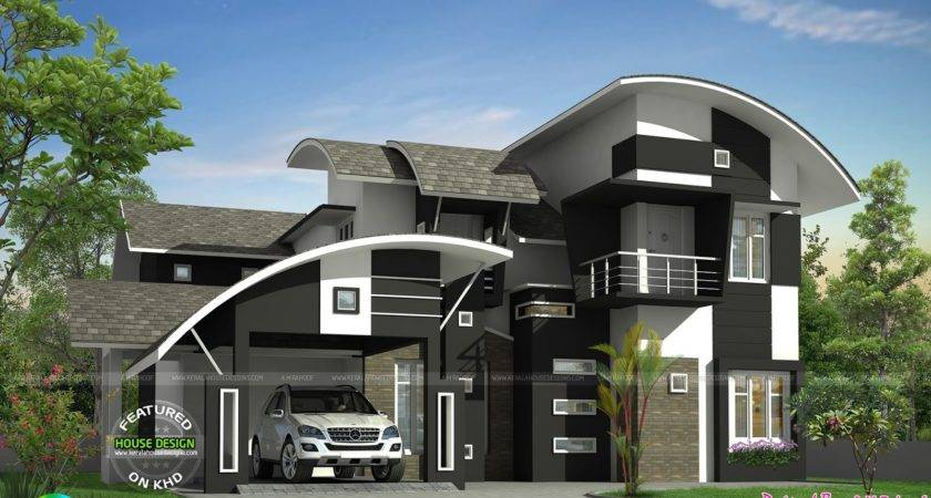 Contemporary Curved Roof Home Kerala