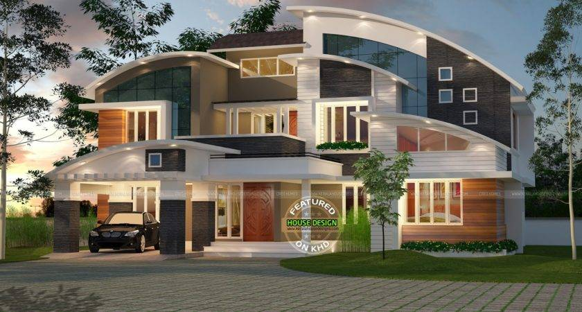 Contemporary Curved Roof House Kerala Home Design