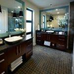Contemporary Master Bathroom Dark Wood Vanities