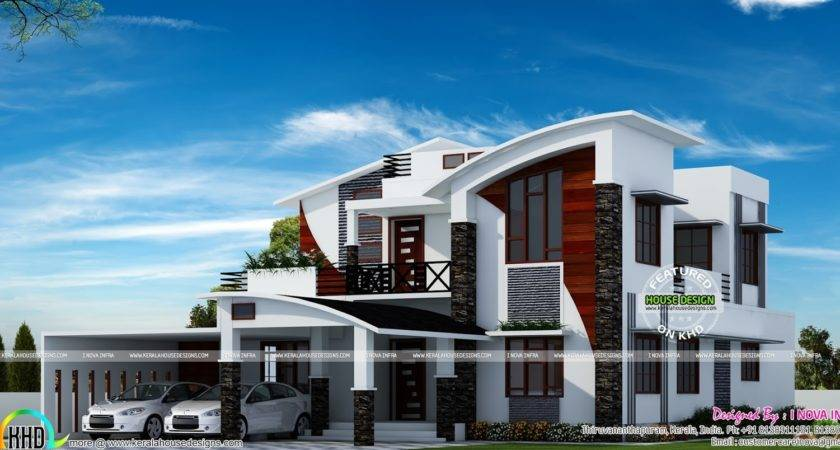 Contemporary Model Curved Roof House Kerala Home Design