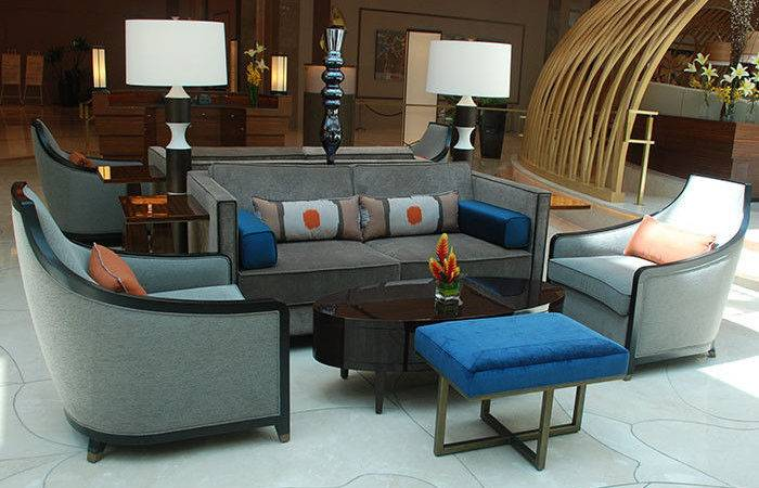 Contemporary Modern Hotel Lobby Sofa Fabric Upholstered