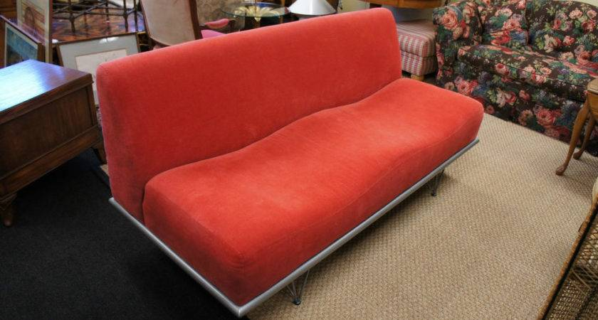 Contemporary Red Sofa Couch Mid Century Modern Atomic Age