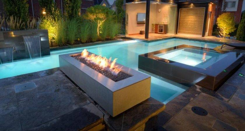 Contemporary Swimming Pool Fire Pit Exterior Stone