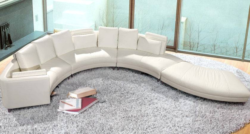 Contemporary White Shaped Curved Leather Sectional Sofa