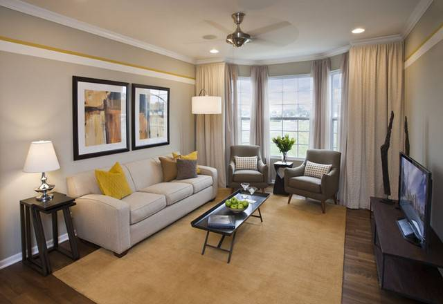 Contemporary Yellow Gray Living Room
