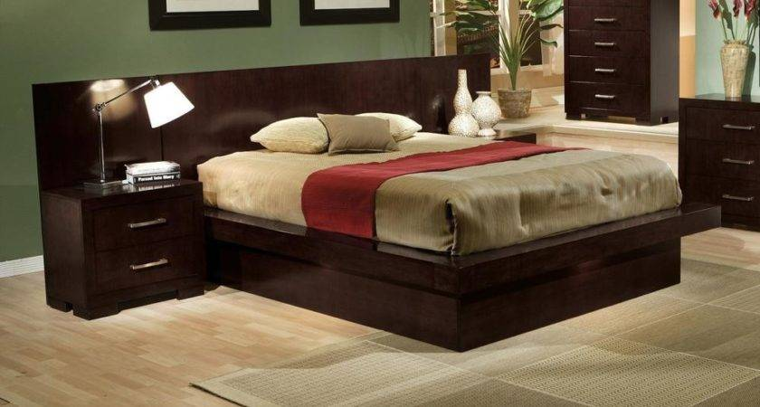 Cool Contemporary Cappuccino King Platform Bed Nightstands