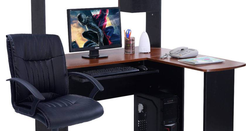 Corner Computer Desk Shaped Workstation Home Office