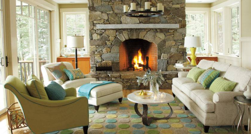 Cottage Living Room Stone Fireplace French Doors