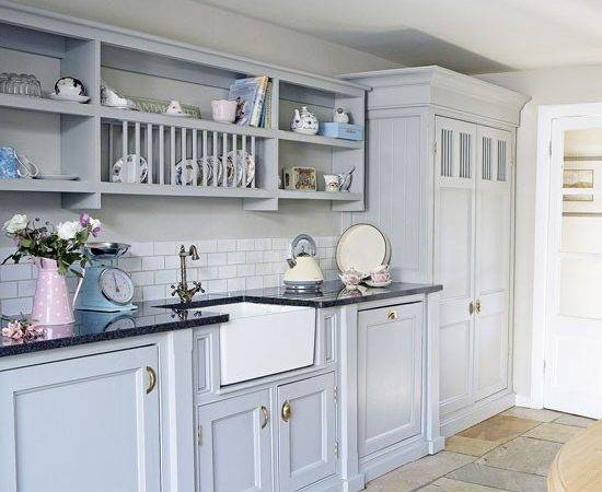 Country Blue Kitchen Cabinets Decorating