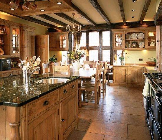 Country Kitchen Wooden Units Beams Housetohome