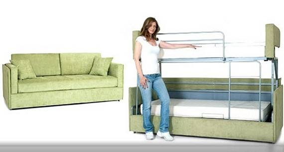 Coupe Sofa Transforms Into Bunk Bed Seconds