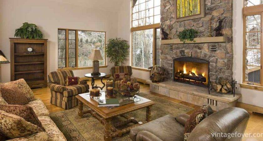 Cozy Living Rooms Cabins Beautiful Stone Fireplaces