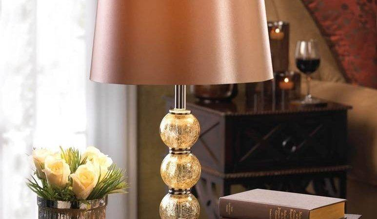 Crackled Glass Lamp Table Light Shade Traditional Living