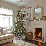 Cream Living Room Christmas Tree Decorating