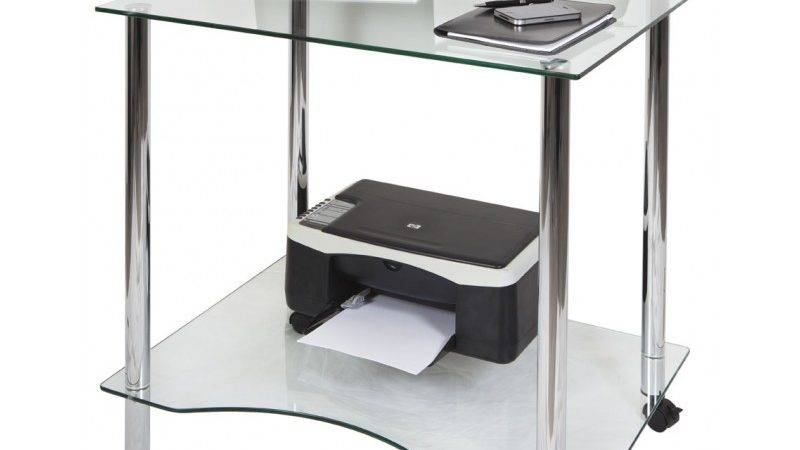 Crystal Contemporary Clear Glass Computer Desk Workstation