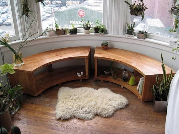 Curved Bay Window Bench Recycled Douglas Fir