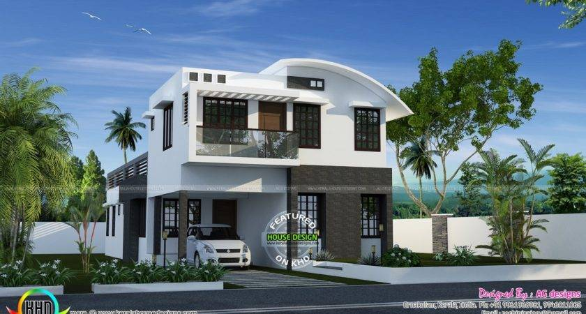 Curved Roof Mix House Plan Kerala Home Design