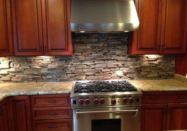 Custom Cut Stone Backsplash Bethesda Eclectic