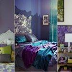 Dark Purple Green Bedroom