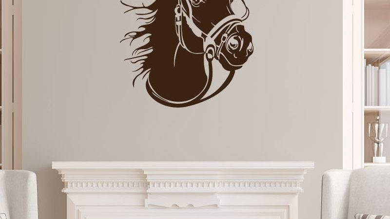 Dctop Racing Horse Head Profile Wall Stickers Animal Home