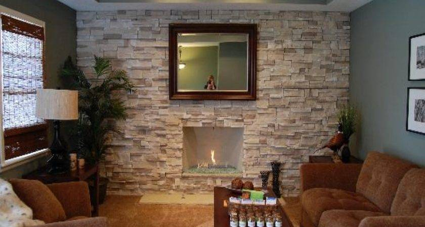 Designer Walls Bedroom Dry Stack Stone Fireplace