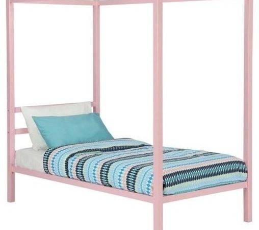 Dhp Modern Metal Twin Canopy Bed Pink Rose Quartz Kids