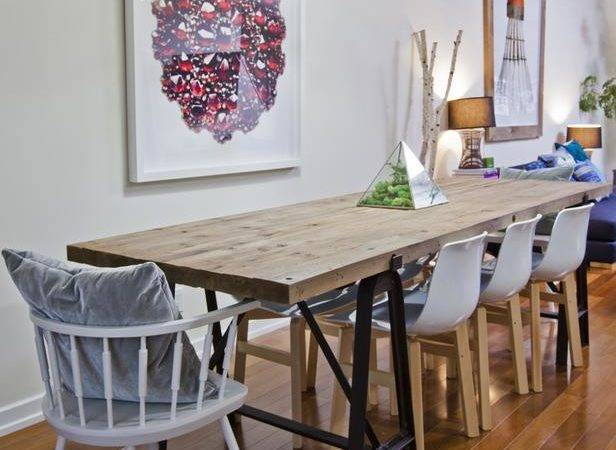 Dining Area Rustic Style Wood Table Modern Chairs