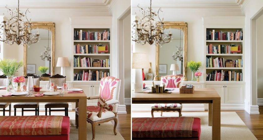 Dining Room Home Office Styled Bookshelves Pink Toes