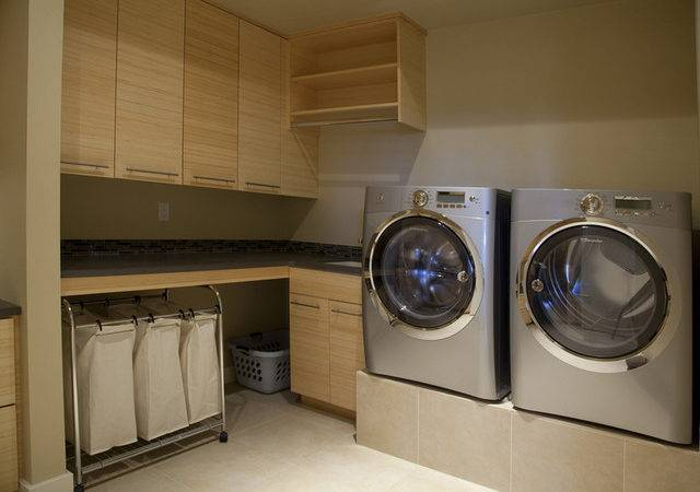 Discreetly Modern Design Laundry Room